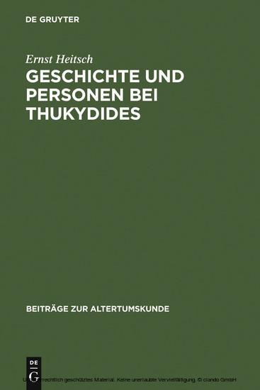 Geschichte und Personen bei Thukydides - Blick ins Buch