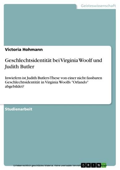 Geschlechtsidentität bei Virginia Woolf und Judith Butler - Blick ins Buch