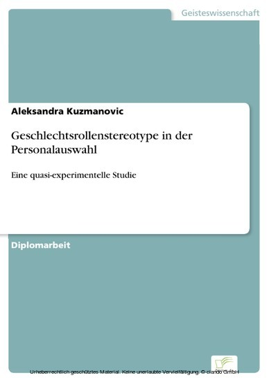 Geschlechtsrollenstereotype in der Personalauswahl - Blick ins Buch
