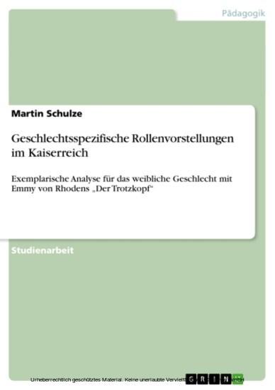 Geschlechtsspezifische Rollenvorstellungen im Kaiserreich - Blick ins Buch