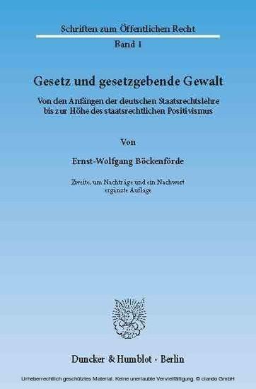 Gesetz und gesetzgebende Gewalt. - Blick ins Buch