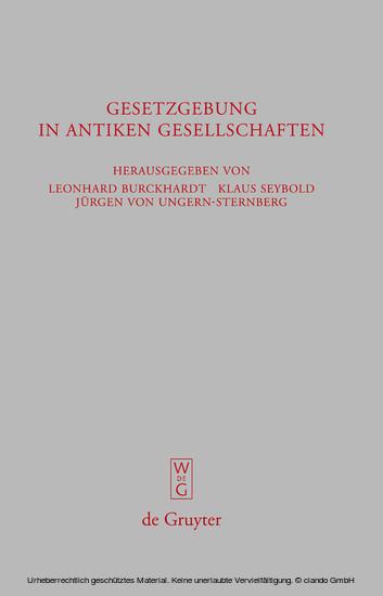 Gesetzgebung in antiken Gesellschaften - Blick ins Buch