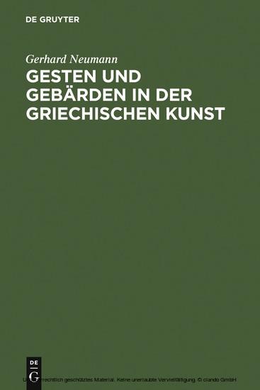 Gesten und Gebärden in der griechischen Kunst - Blick ins Buch