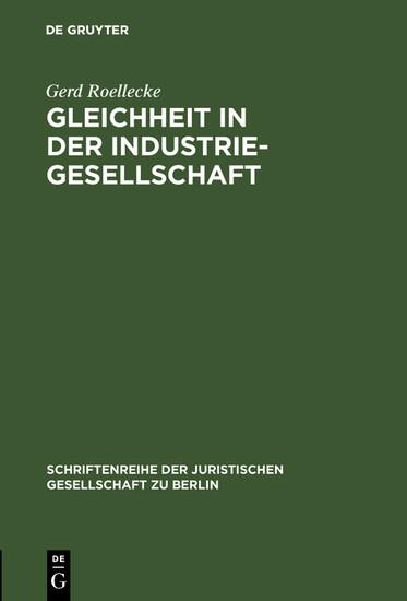 Gleichheit in der Industriegesellschaft - Blick ins Buch