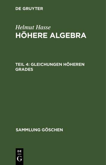 Gleichungen höheren Grades - Blick ins Buch