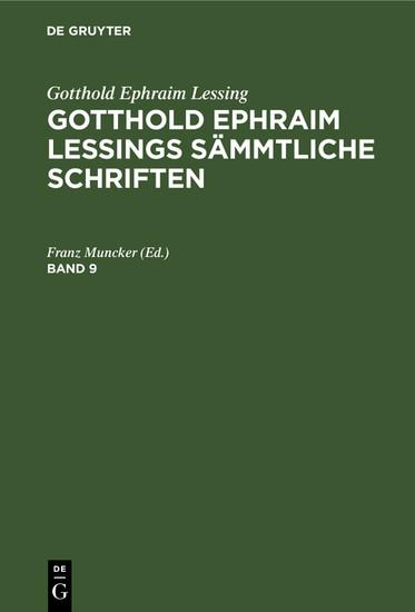 Gotthold Ephraim Lessing: Gotthold Ephraim Lessings Sämmtliche Schriften. Band 9 - Blick ins Buch
