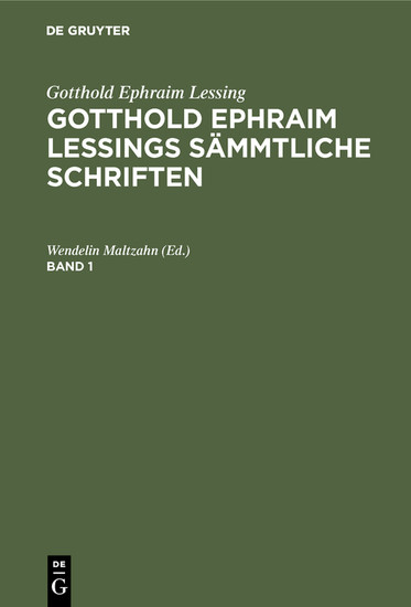 Gotthold Ephraim Lessings Sämmtliche Schriften. Band 1 - Blick ins Buch