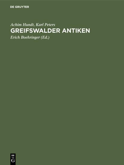 Greifswalder Antiken - Blick ins Buch