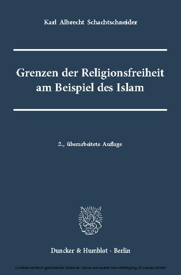 Grenzen der Religionsfreiheit am Beispiel des Islam - Blick ins Buch