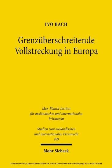 Grenzüberschreitende Vollstreckung in Europa - Blick ins Buch