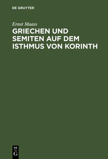 Griechen und Semiten auf dem Isthmus von Korinth - Blick ins Buch