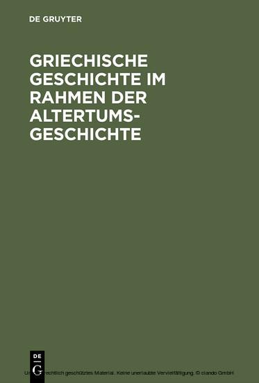 Griechische Geschichte im Rahmen der Altertumsgeschichte - Blick ins Buch