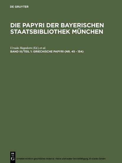 Griechische Papyri (Nr. 45 - 154) - Blick ins Buch
