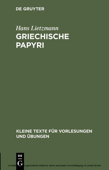 Griechische Papyri - Blick ins Buch