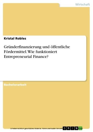 Gründerfinanzierung und öffentliche Fördermittel. Wie funktioniert Entrepreneurial Finance? - Blick ins Buch