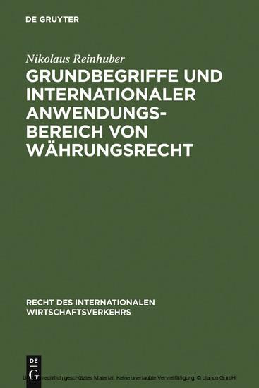 Grundbegriffe und internationaler Anwendungsbereich von Währungsrecht - Blick ins Buch