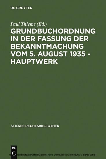 Grundbuchordnung in der Fassung der Bekanntmachung vom 5. August 1935 - Hauptwerk - Blick ins Buch