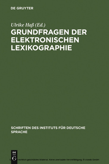 Grundfragen der elektronischen Lexikographie - Blick ins Buch