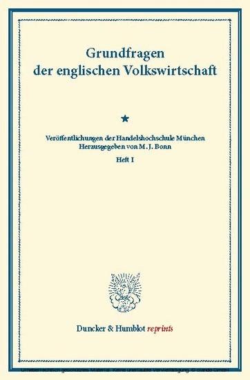 Grundfragen der englischen Volkswirtschaft. - Blick ins Buch