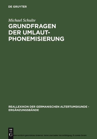 Grundfragen der Umlautphonemisierung - Blick ins Buch