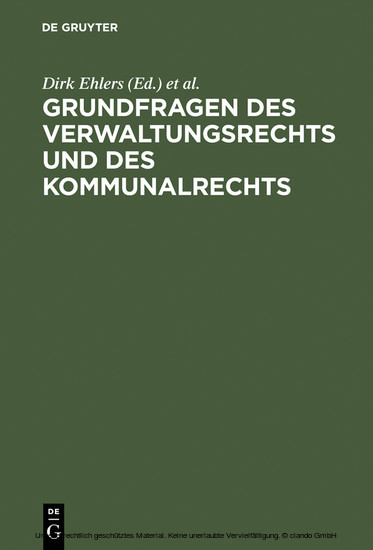 Grundfragen des Verwaltungsrechts und des Kommunalrechts - Blick ins Buch