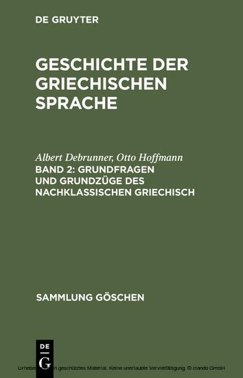 Grundfragen und Grundzüge des nachklassischen Griechisch - Blick ins Buch