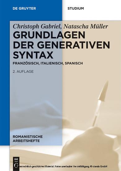 Grundlagen der generativen Syntax - Blick ins Buch