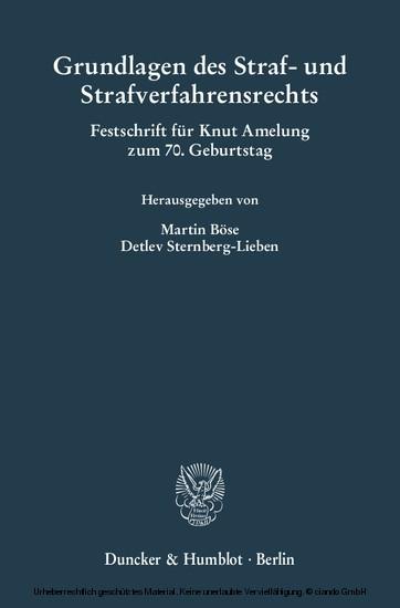 Grundlagen des Straf- und Strafverfahrensrechts. - Blick ins Buch