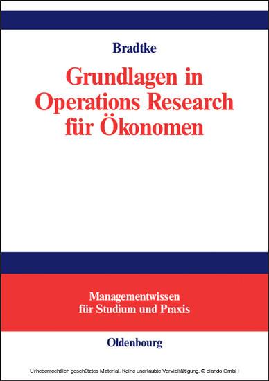 Grundlagen in Operations Research für Ökonomen - Blick ins Buch