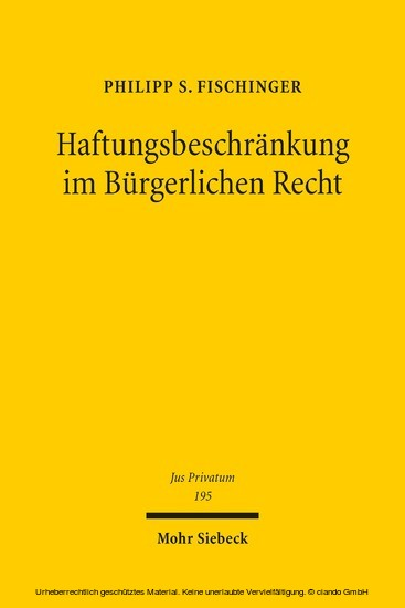 Haftungsbeschränkung im Bürgerlichen Recht - Blick ins Buch