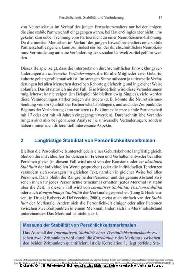 Handbuch der Persönlichkeitspsychologie und Differentiellen Psychologie - Blick ins Buch