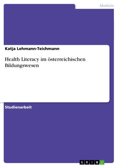 Health Literacy im österreichischen Bildungswesen - Blick ins Buch
