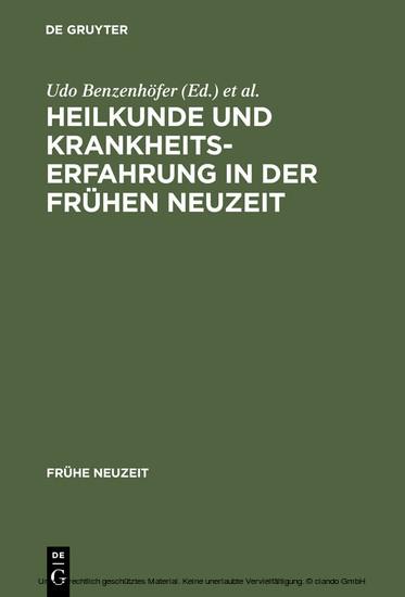 Heilkunde und Krankheitserfahrung in der frühen Neuzeit - Blick ins Buch