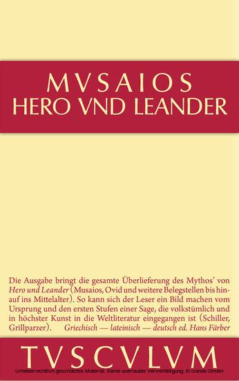 Hero und Leander und die weiteren antiken Zeugnisse - Blick ins Buch