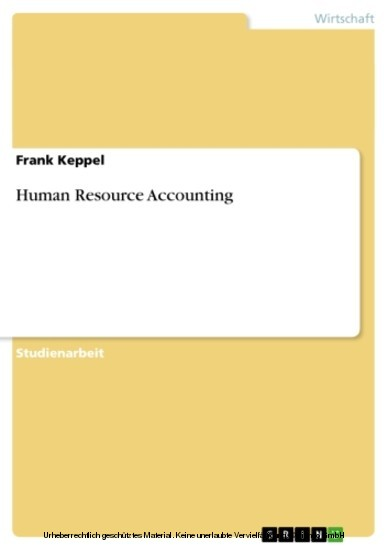 Human Resource Accounting - Blick ins Buch