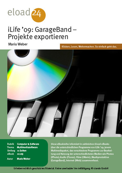iLife 09: GarageBand - Projekte exportieren - Blick ins Buch