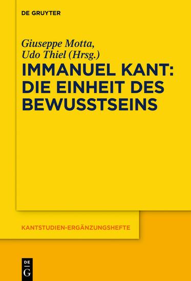 Immanuel Kant - Die Einheit des Bewusstseins - Blick ins Buch