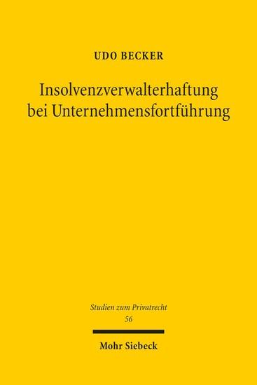Insolvenzverwalterhaftung bei Unternehmensfortführung - Blick ins Buch