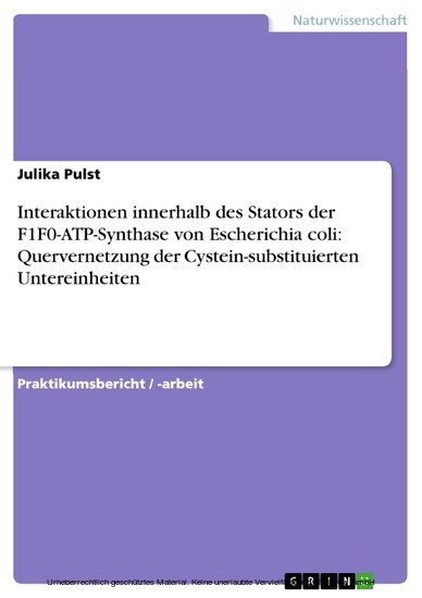 Interaktionen innerhalb des Stators der F1F0-ATP-Synthase von Escherichia coli: Quervernetzung der Cystein-substituierten Untereinheiten - Blick ins Buch