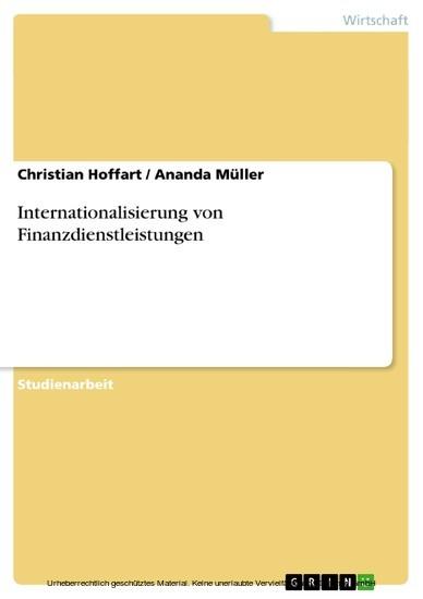 Internationalisierung von Finanzdienstleistungen - Blick ins Buch