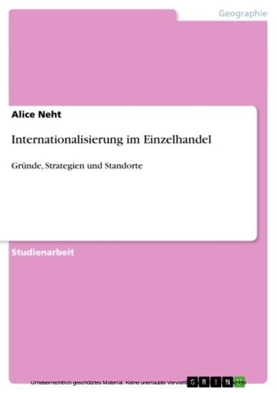 Internationalisierung im Einzelhandel - Blick ins Buch