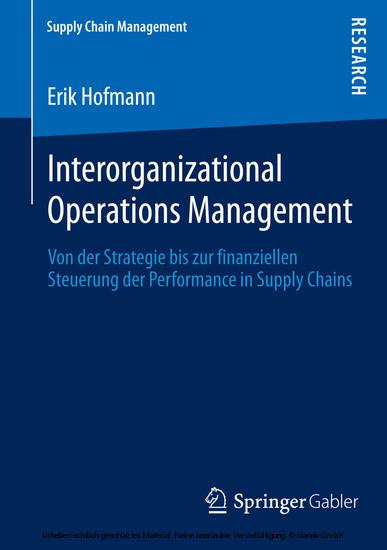 Interorganizational Operations Management - Blick ins Buch