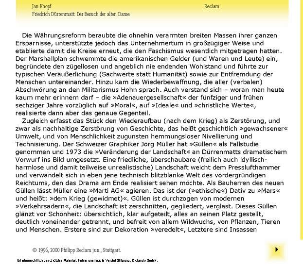 Interpretation. Friedrich Dürrenmatt: Der Besuch der alten Dame - Blick ins Buch