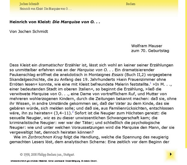 Interpretation. Heinrich von Kleist: Die Marquise von O... - Blick ins Buch