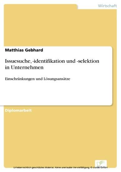 Issuesuche, -identifikation und -selektion in Unternehmen - Blick ins Buch