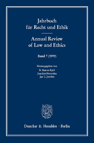Jahrbuch für Recht und Ethik / Annual Review of Law and Ethics. - Blick ins Buch