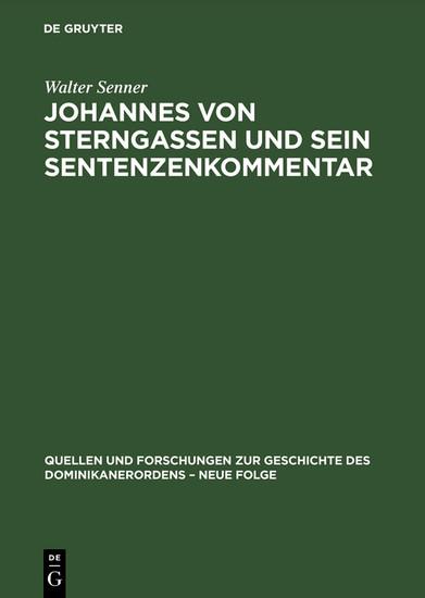 Johannes von Sterngassen und sein Sentenzenkommentar - Blick ins Buch