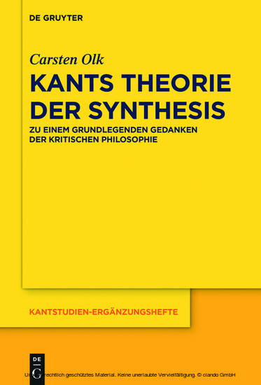 Kants Theorie der Synthesis - Blick ins Buch