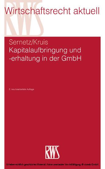Kapitalaufbringung und -erhaltung in der GmbH - Blick ins Buch