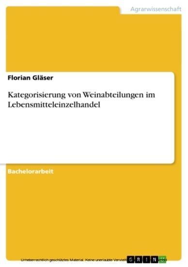 Kategorisierung von Weinabteilungen im Lebensmitteleinzelhandel - Blick ins Buch